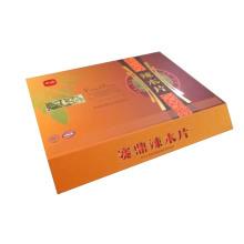 Caixa de presente de papelão rígido de ponta alta com incrustação de seda