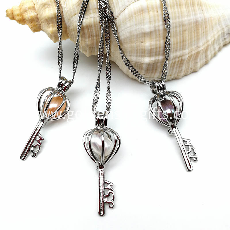 Freshwater Pearl Bead Key Cage Pendant Necklace
