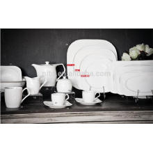 Platos de la fábrica de la porcelana de P & T, platos cuadrados, platos de la cena del restaurante, tazas de café y platillos