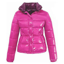 The glossy pink PU women down jacket for winters