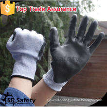 SRSAFETYpu anti-cut gloves/made in China/ Nylon+UHMWPE+Glassfibre liner