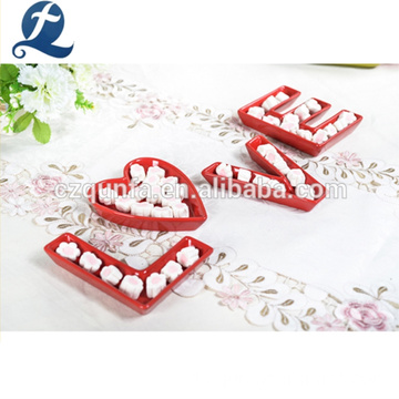 Hot Sale Red Keramik romantische Liebe Dekoration Briefablage Sets