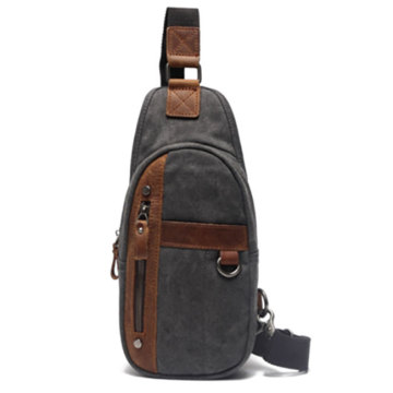 Trendy canvas heren borst messenger sling bag