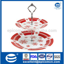 Christmas style Fine white porcelain 2 tier cake stand of New Christmas