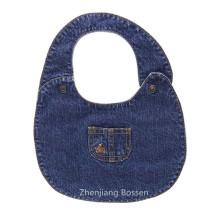 Promotional Custom Made Denim Like Soft Cotton Fabric Embroidered Baby Bib