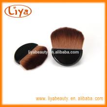 Half moon shape mini compact brush for makeup with black handle