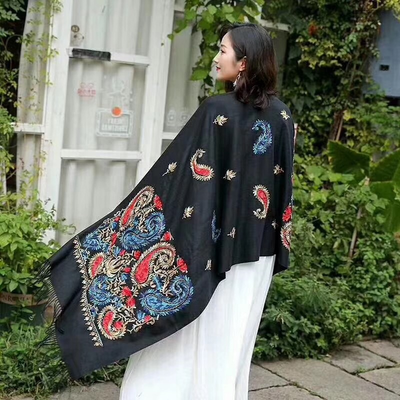 Muslim Embroidered Women Wool Scarf Fabric 3