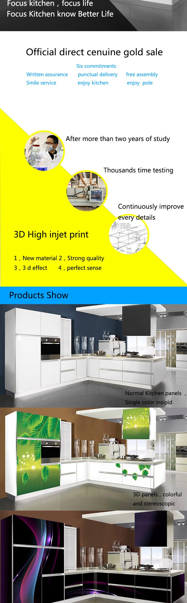 L Shape 4D Kitchen Cabinets