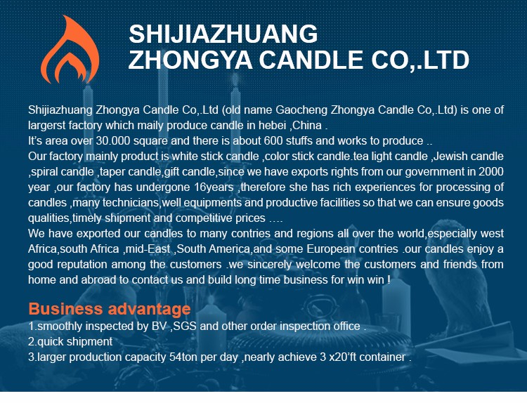 ZhongYa Candle Supplier