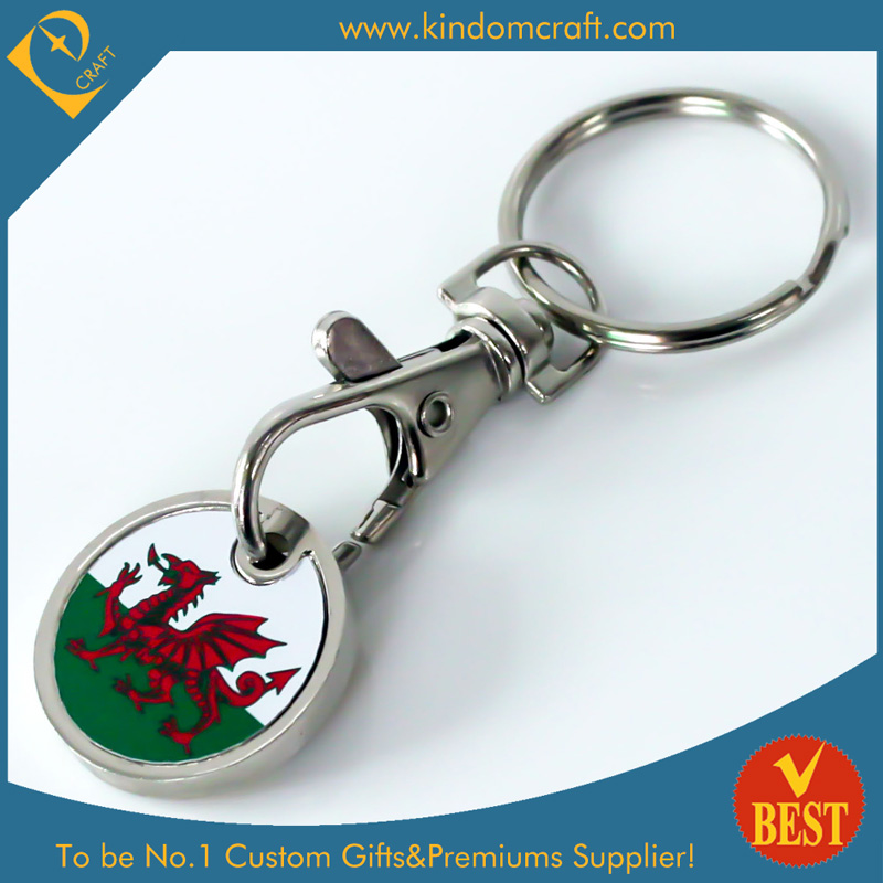 Promotion Shopping Trolley Coin Keyring with Metal Stick