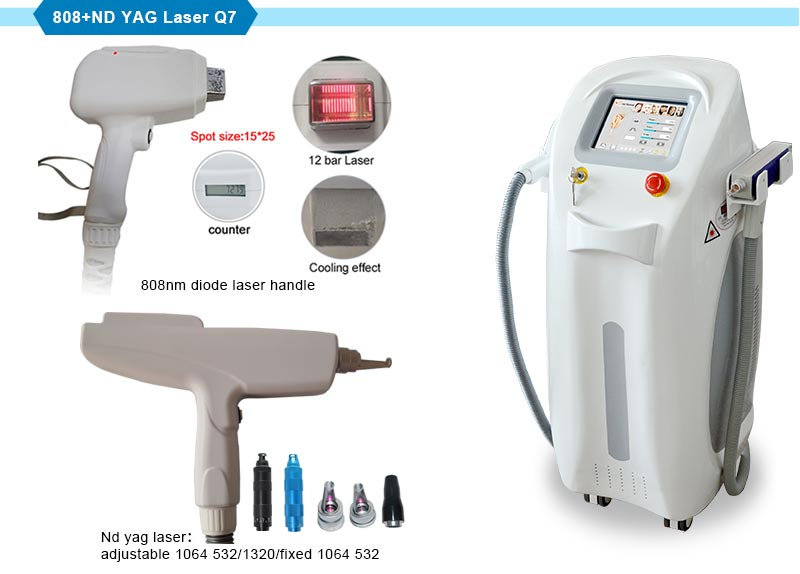 Beauty Equipment ND YAG Laser Tattoo Removal with 808nm Diode Laser Hair Removal