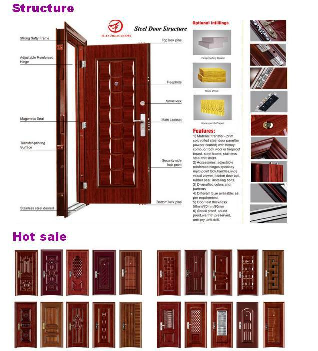 New Model Wooden Color Economical Iron Door