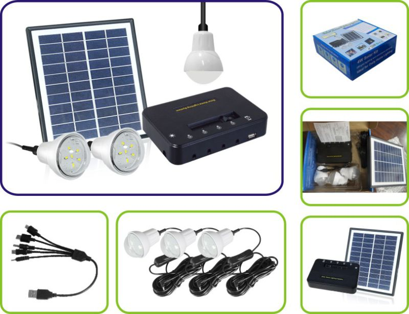 Portable Mini Project Solar Power Lighting System with 11V 4W Solar Panel and USB Phone Charger