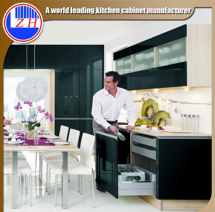 MDF Black Acrylic Kitchen Cabinet Furniture (customized)
