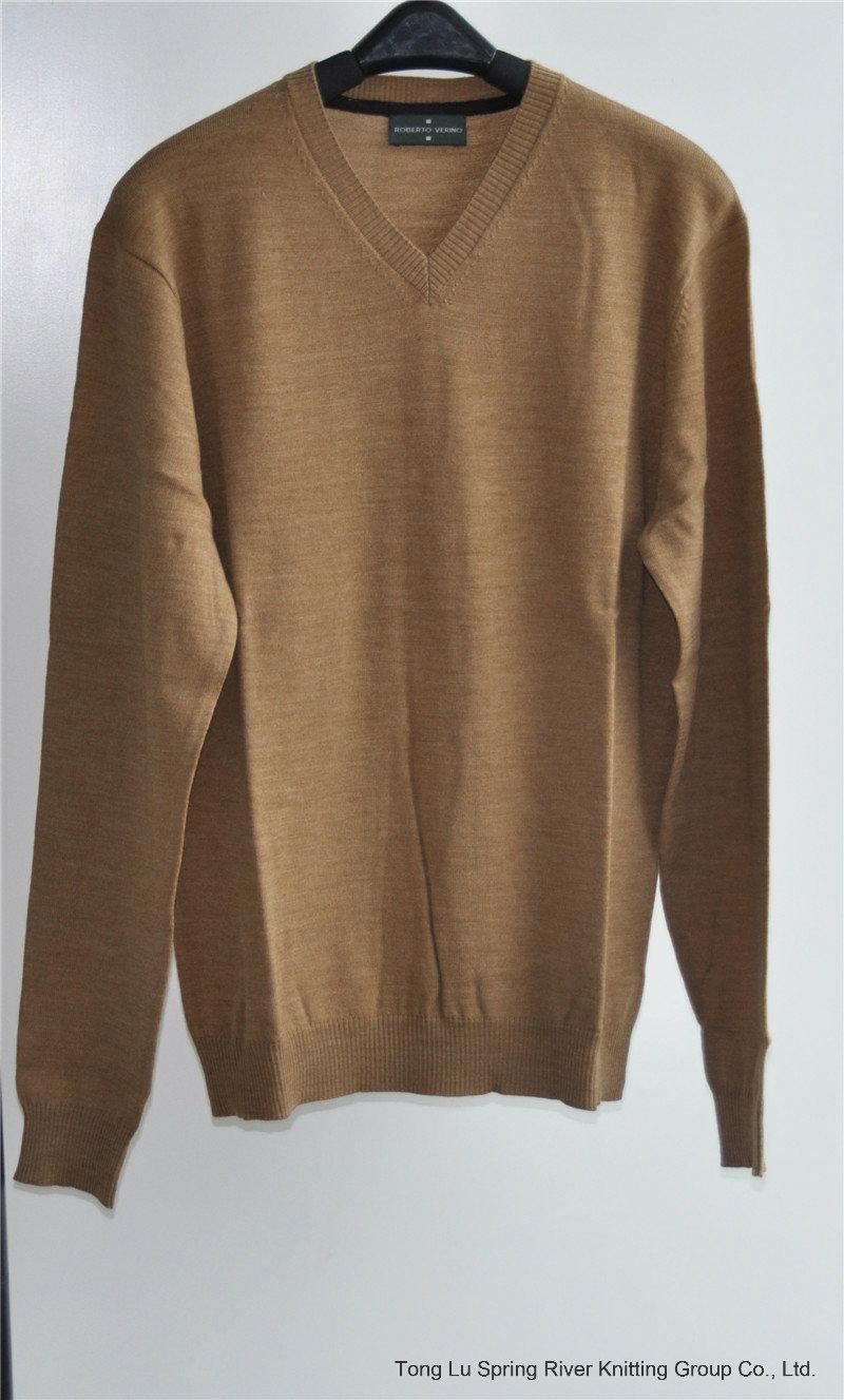 100% Wool V-Neck Kint Pullover Man Sweater