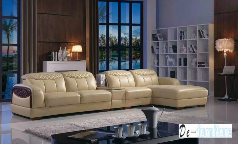 Brown Color Leather Sofa, L Shape Sofa (K8006)