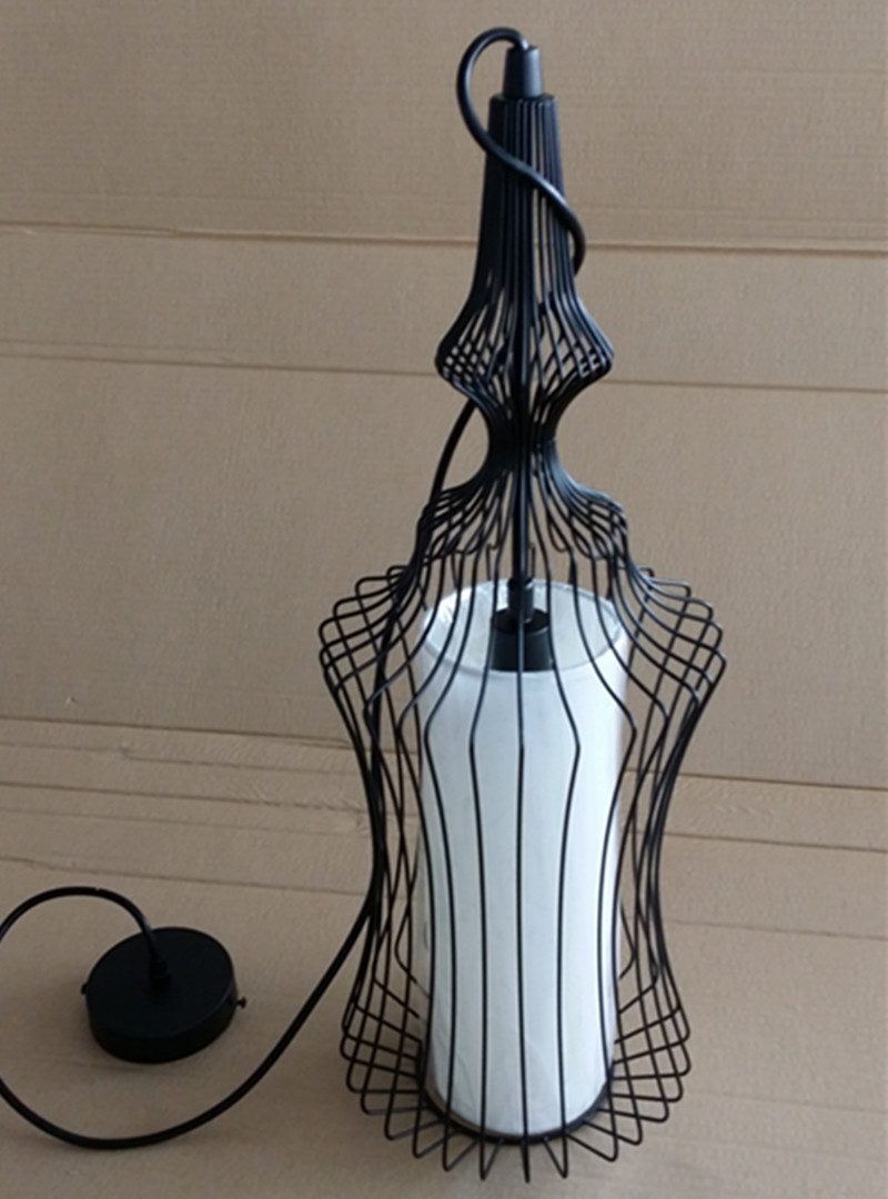 Chinese Style Painted Black Bird Cage Iron Pendant Lamp