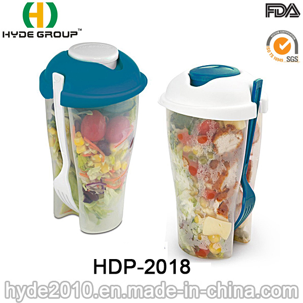 Hot Sales Salad Container Plastic Shaker Cup with Fork (HDP-2018)