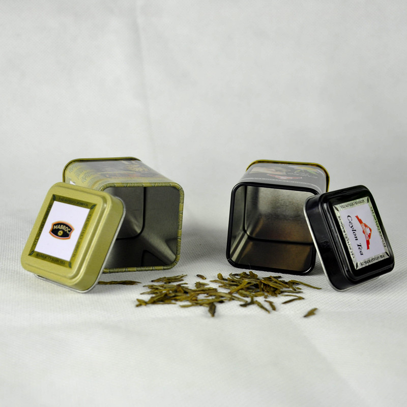 Small Square Tea Packaging Tin Box with Food Grade Varnish China Supplier