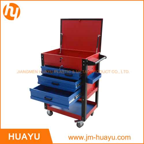 550 Lbs Sheet Metal Red & Blue Heavy Duty Rolling Tool Cabinet with 5 Lock Drawers