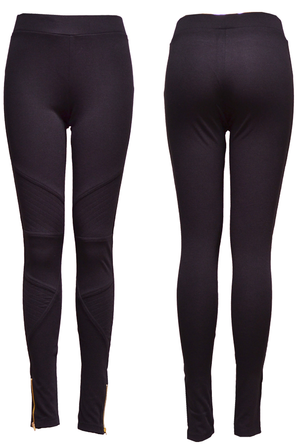Foot Zipper Leggings with Stitches on Front Legs