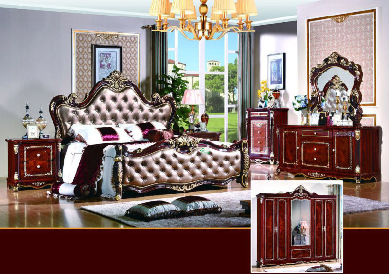Bedroom Set with Double Bed for Home Furniture (W813A)