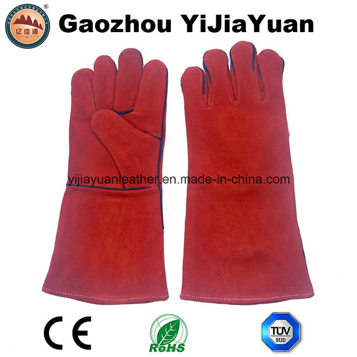 Ce En12477 Cow Split Leather Protection Safety Hand Work Welding Gloves