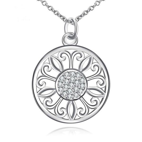 Fashion Women Trendy Brand Top Quality CZ Silver Pendants Necklaces