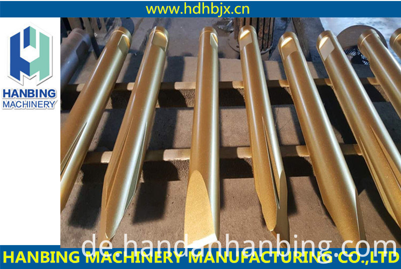 Widest range of high quality demolition tools which is compatible with most hydraulic heavy duty breakers are offered to u.All of tools are manufactured only with the highest quality materials,excellent workmanship and state of the art hear treament tech to ensure outstanding performance and durability.moil point Hydraulic Breaker Chisels are ware parts used for stone cutting,boring holes in concrete,bricks and other hard materials. with most hydraulic heavy duty breakers are offered to u.All of tools are manufactured only with the highest quality materials,excellent workmanship and state of the art hear treament tech to ensure outstanding performance and durability. top quality Hydraulic Breaker Drill Rod are ware parts used for stone cutting,boring holes in concrete,bricks and other hard materials.