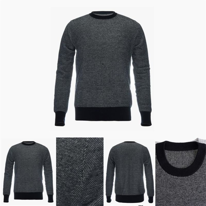 Men's Crew Neck 100% Top Grade Pure Cashmere Sweater with Patterns