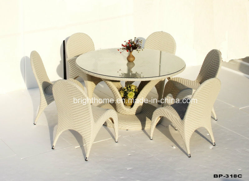 6 Seater Practical Balcony Restaurant Oval Rattan Table and Chair