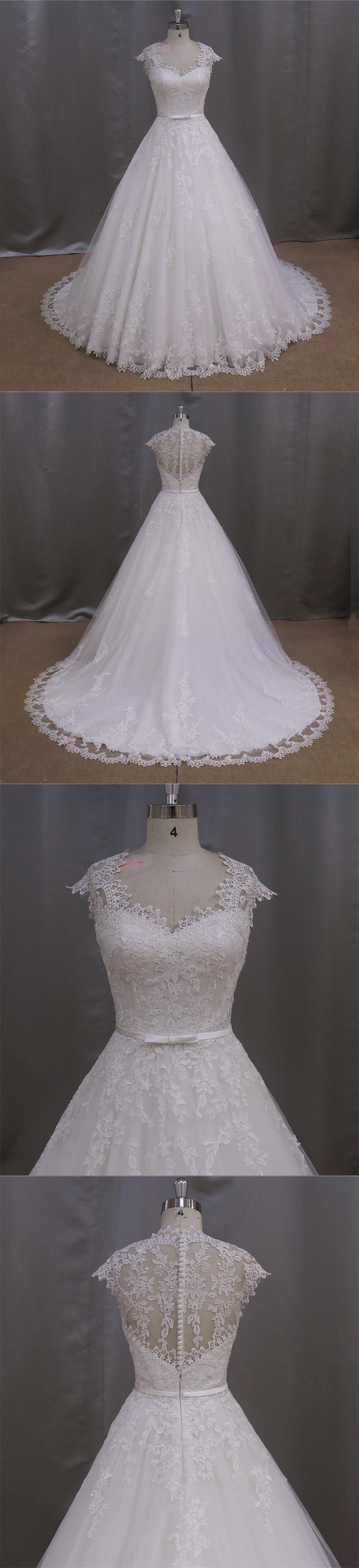 2016 Newest Cap Sleeve Sheer Back A Line Lace Bridal Wedding Dress