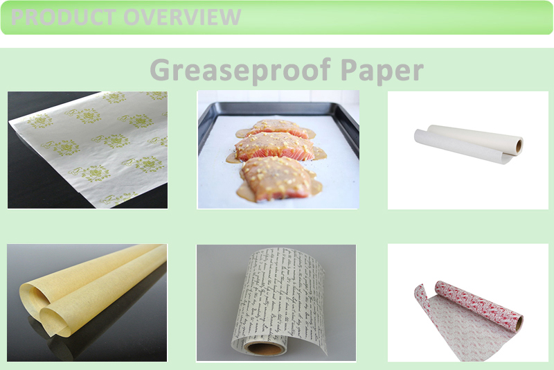 Natural White Printed Food Grade Greaseproof Paper Roll
