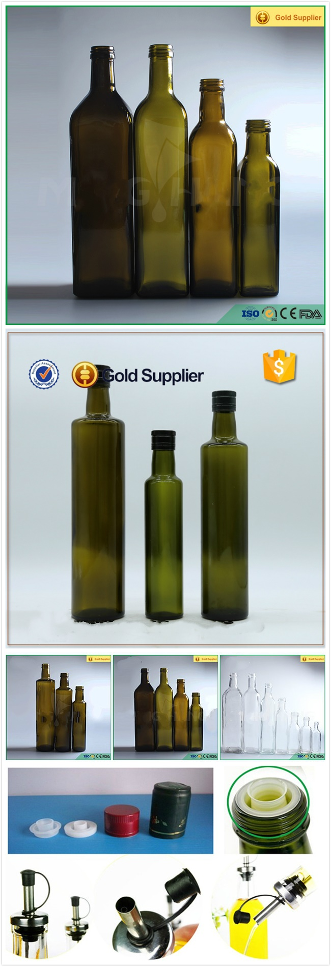 Green Cooking Olive Oil Marasca Glass Bottle 250ml
