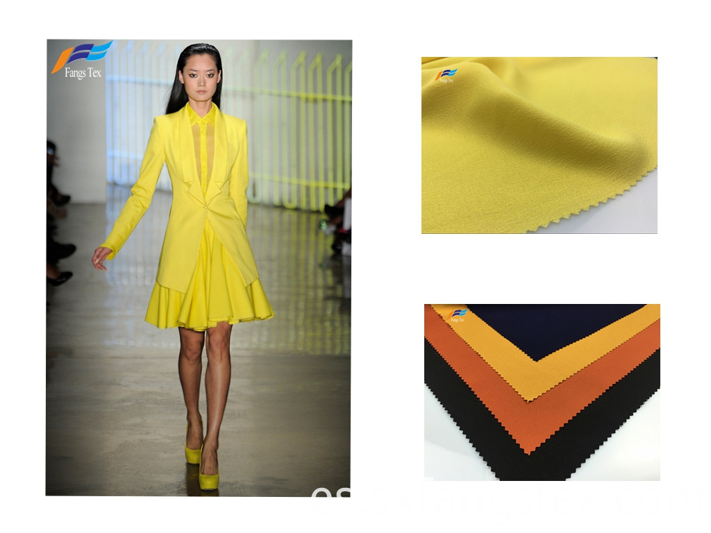 100% Polyester Yarn Dyed Yellow Ladies Dress Fabric