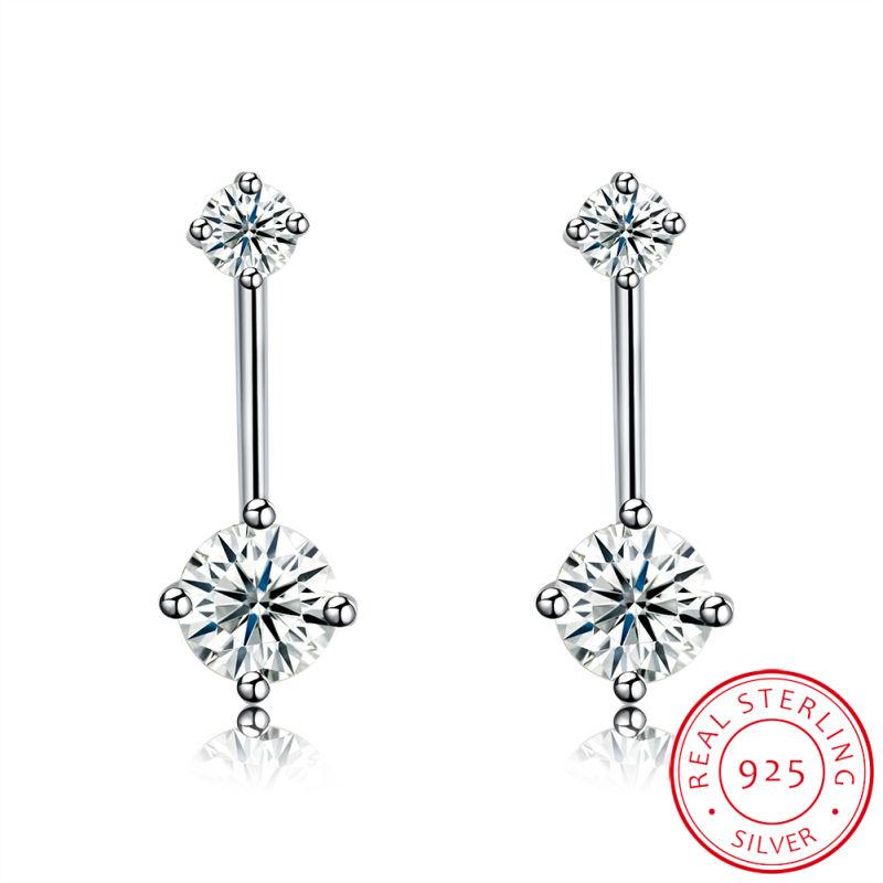 925 Sterling Silver Snow Shape Zircon Ear Stud Fashion Earring