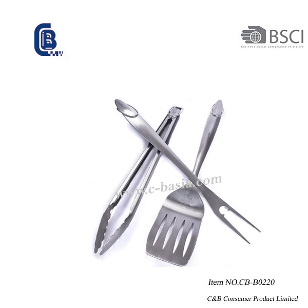 3PCS Deluxe Stainless Steel BBQ Grill Tools, Barbecue Tools Set, BBQ Grilling Tools 2