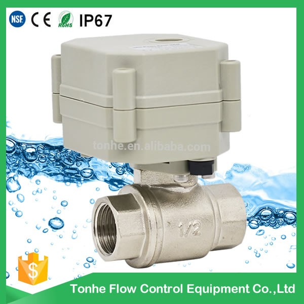 2 Way Dn15 Nickel Plated Brass Motorized Electric Water Ball Valve