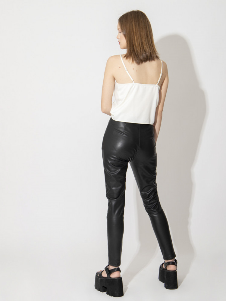Black Pu Leather Pants