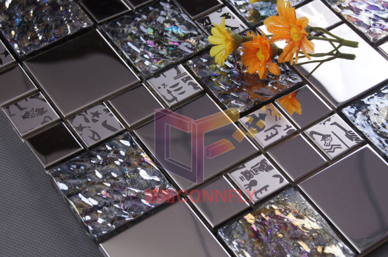 Stainless Steel with Pattern Mix Crystal Glass Mosaic (CFM764)