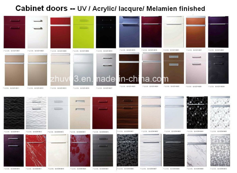 New Modern Acrylic Kitchen Cabinet Shutters with PVC Edge Banding & Handles (customized)