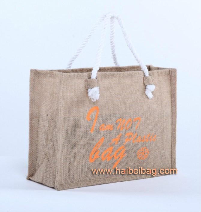 Stylish Customized Jute Shopping Tote Bag (HBJU-41)