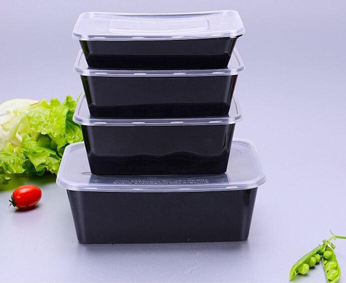 Disposable Microwave PP Food Container with Black Base 650ml