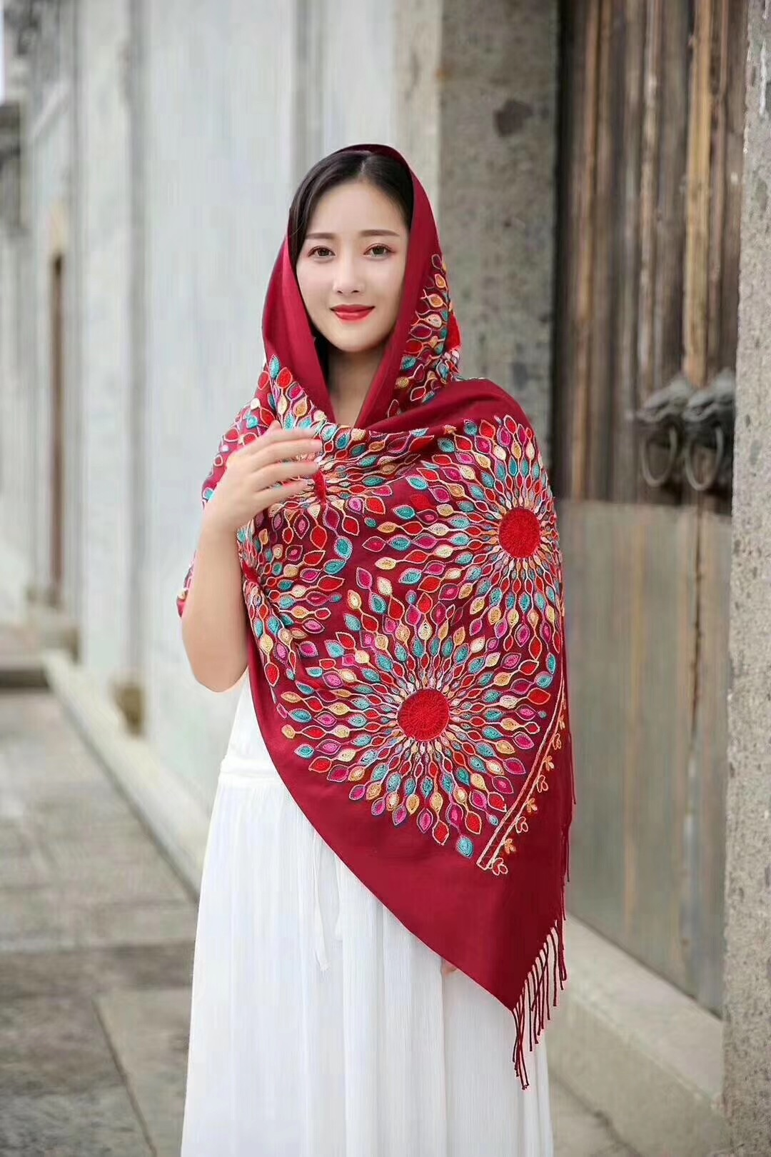 Elegant Muslim Embroidered Women Wool Scarf Fabric