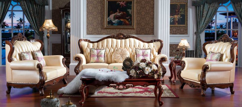 Leather Sofa Set with Wooden Sofa Frame and Table (508)
