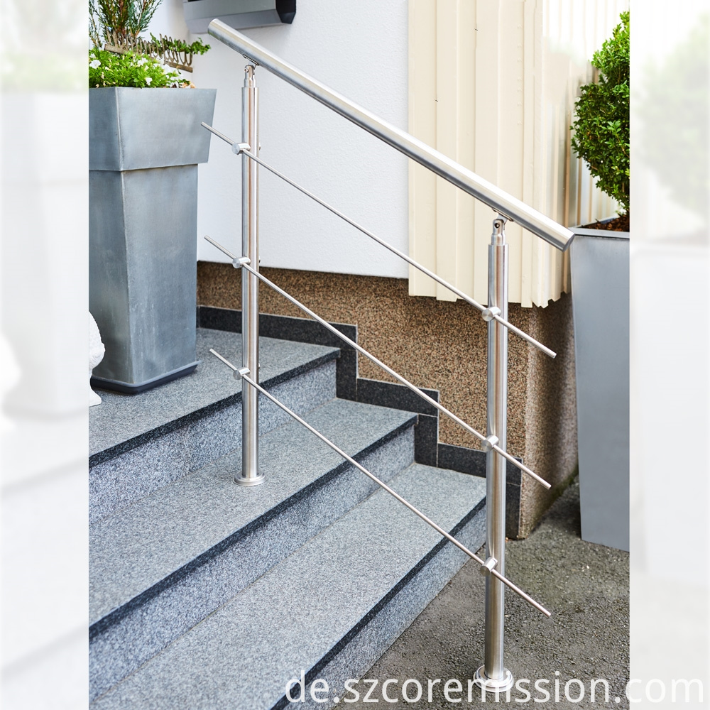 Floor Mounted 304 Stainless Steel Removable Stair Handrail