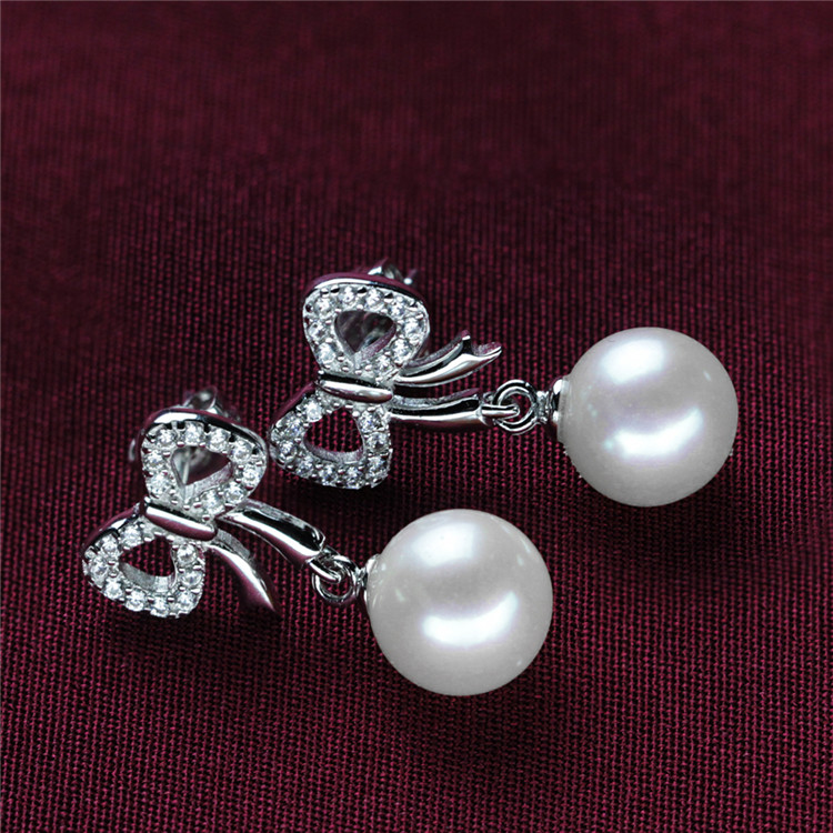 Round 925 Silver Natural Beautiful Bowknot Earring Pearl