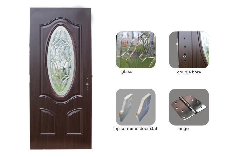Fangda Smooth Finished Bathroom Steel Glass Door