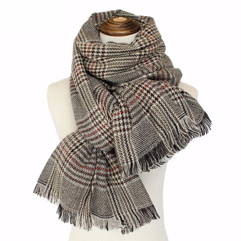 Womens Soft Cashmere Feel Alike Checked Stole Shawl Wraps Scarf (SP278)