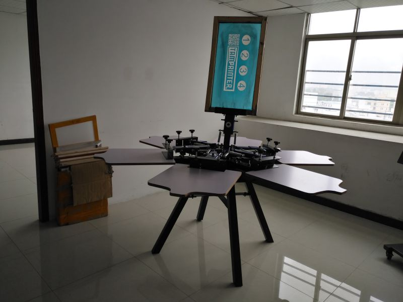 TM-R6 Manual 6-Color Texitile Screen Printer for T Shirt with Squeegee